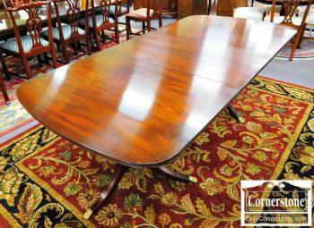 5965-249 Henkel Harris Solid Mahogany Pedestal Table with 4 Leaves