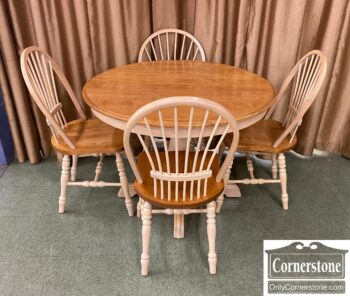 5965-2493 - Canadel Round Table 2Lvs 4 Chairs