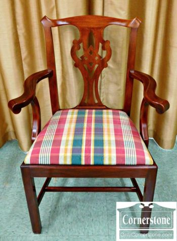 5965-250 8 Henkel Harris Solid Mahogany Chippendale Dining Chairs