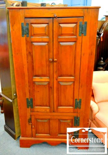5965-262 Antique Pine Blind Door Corner Cabinet Cupboard