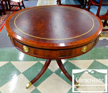 5965-281 Councill Craftsmen Mahogany Leather Top Drum Table