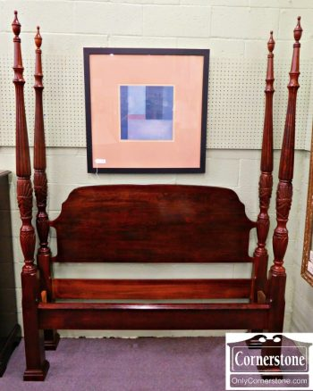 5965-293 Solid Cherry Queen Rice Carved Poster Bed