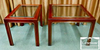 5965-307 Pair of Solid Cherry End Tables with Glass Inserts