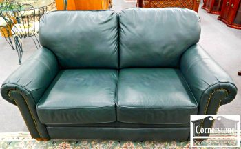 5965-518-flexsteel-green-leather-love-seat