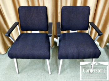 5965-575 Pair of General Fireproofing Modern Aluminum Arm Chairs