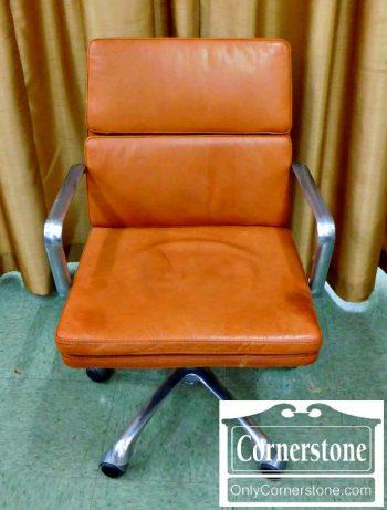 5965-585 William Sonoma Nash Aluminum and Tan Leather Modern Swivel Desk Chair