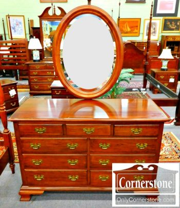 5965-589 PA House Solid Cherry Dresser with Oval Mirror