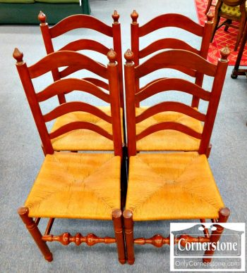 5965-597 Set of 4 Cabinet Made Solid Cherry Rush-Seat Chairs with Acorn Finials