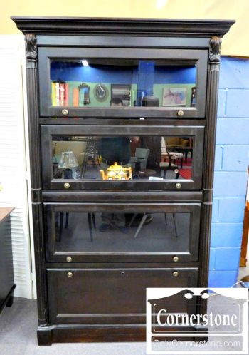 5965-624 Broyhill Glass Door Tall Black Bookcase with Drawer