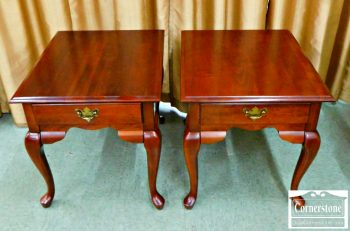 5965-632 - Pair of Broyhill Solid Cherry Queen Anne Rectangular End Tables