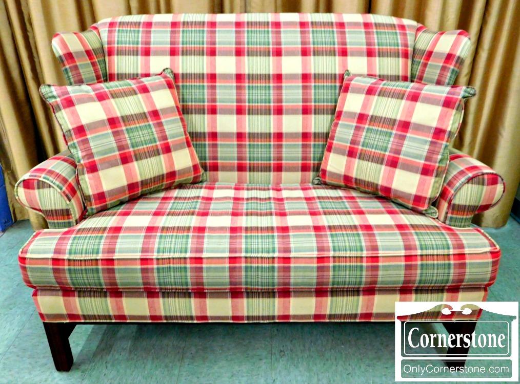5965 648 Emerald Craft Chippendale Highback Plaid Sofa