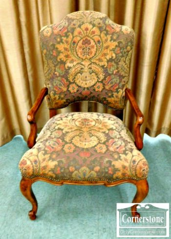 5965-715 - Century Upholstered Arm Chair - Earth Tone Tapestry Fabric