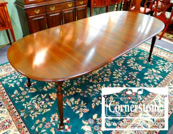 5965-729 - Ethan Allen Solid Cherry Oval Table with 2 Leaves