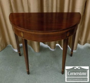 5965-766 - Kindel Mahogany Inlaid Demilune Game Table