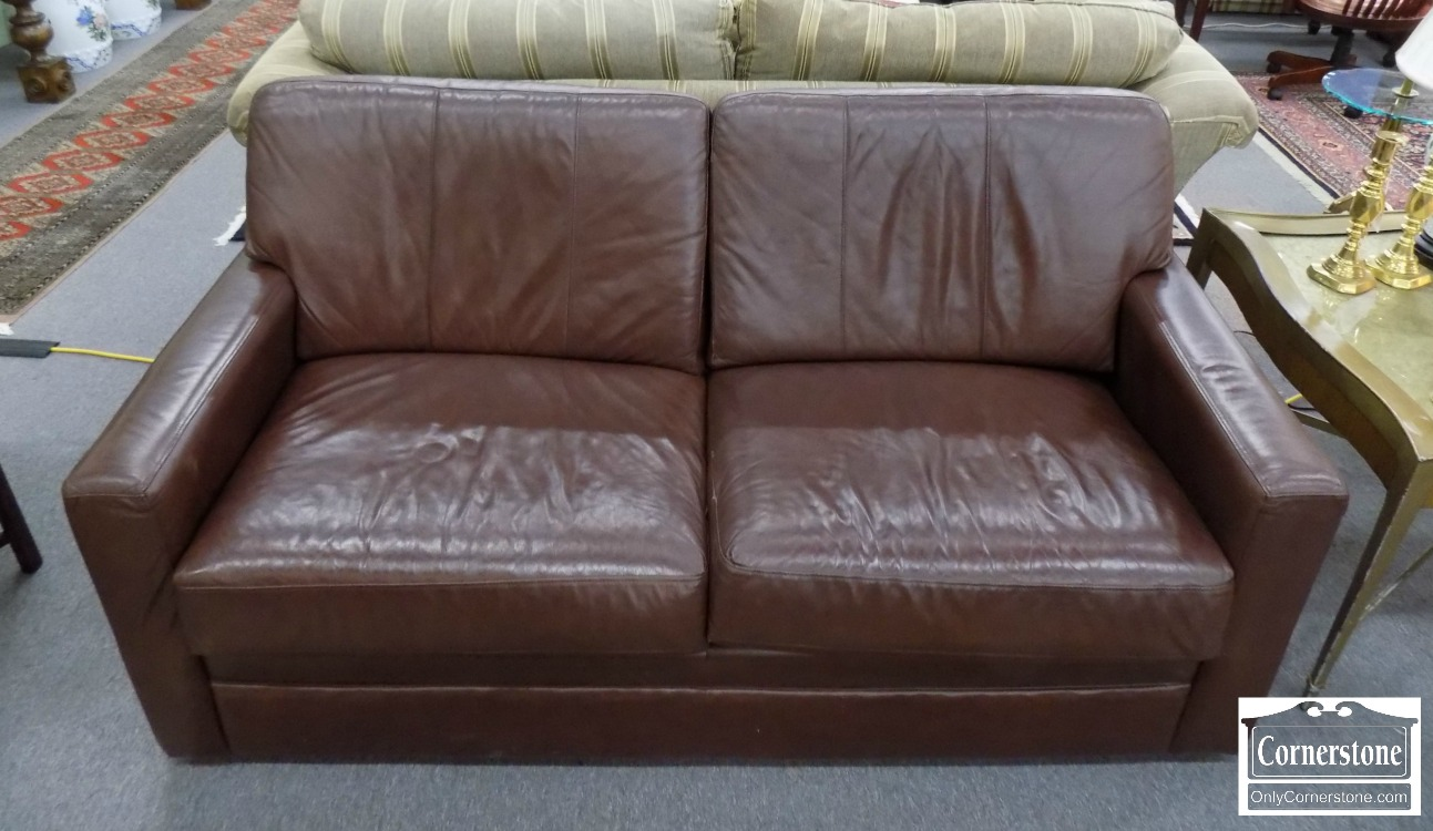 5965 894   La Z Boy Brown Leather Contemporary Sleeper Sofa