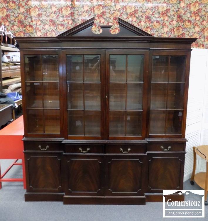 Large Solid Mahogany Breakfront With Beveled Glass Doors Baltimore