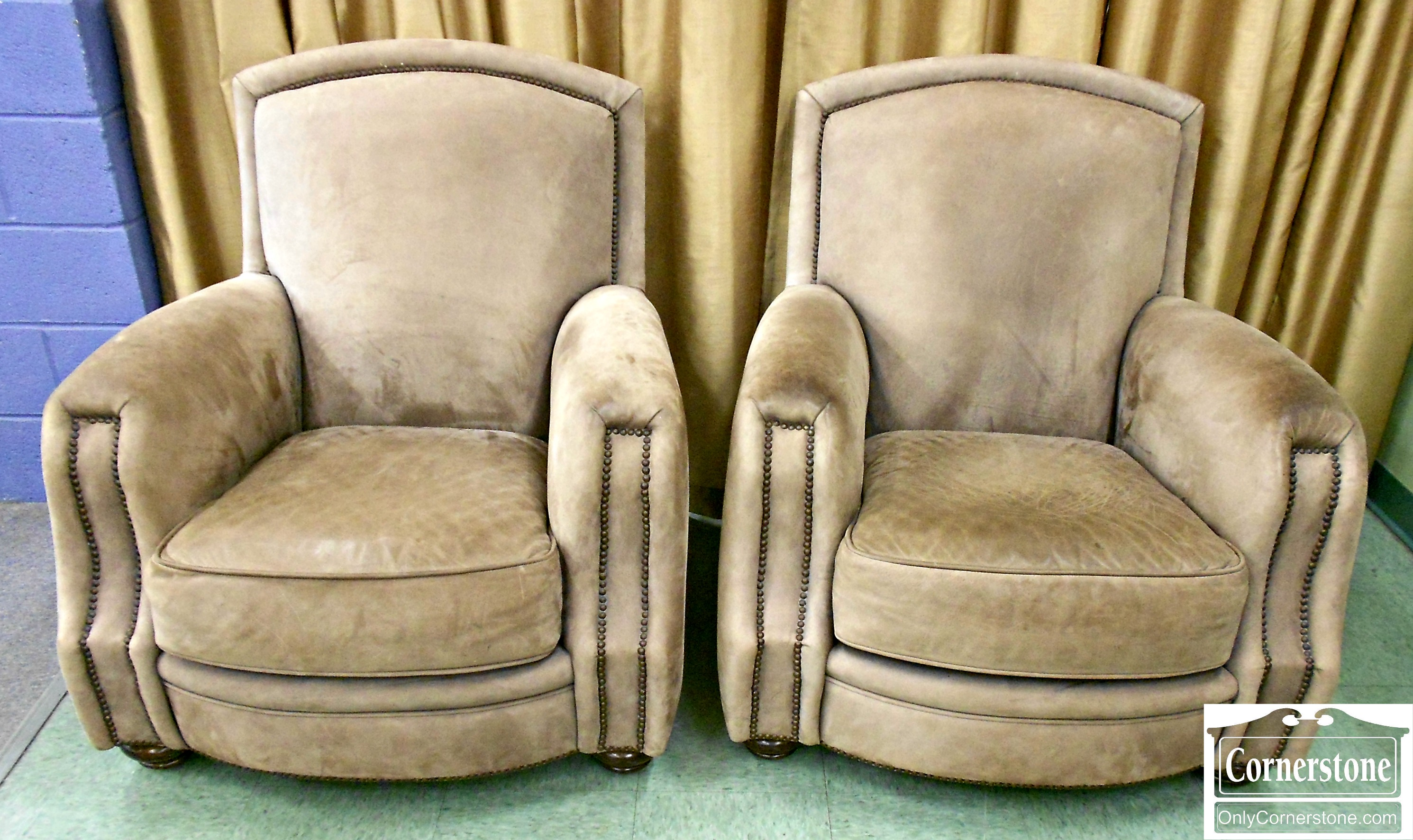 5966-10 Pair of Heirloom Furniture by Century Suede Club Chairs