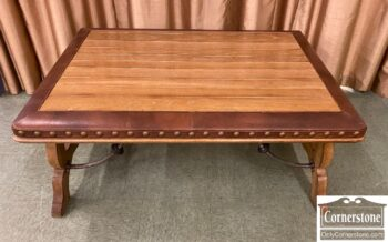 5966-1096 - Rustic Oak Cont Coffee Table w Leather