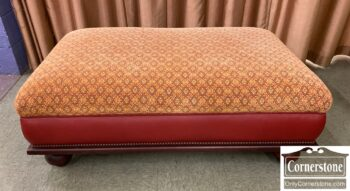 5966-1099 - Cont Ottoman Red Leather Sides