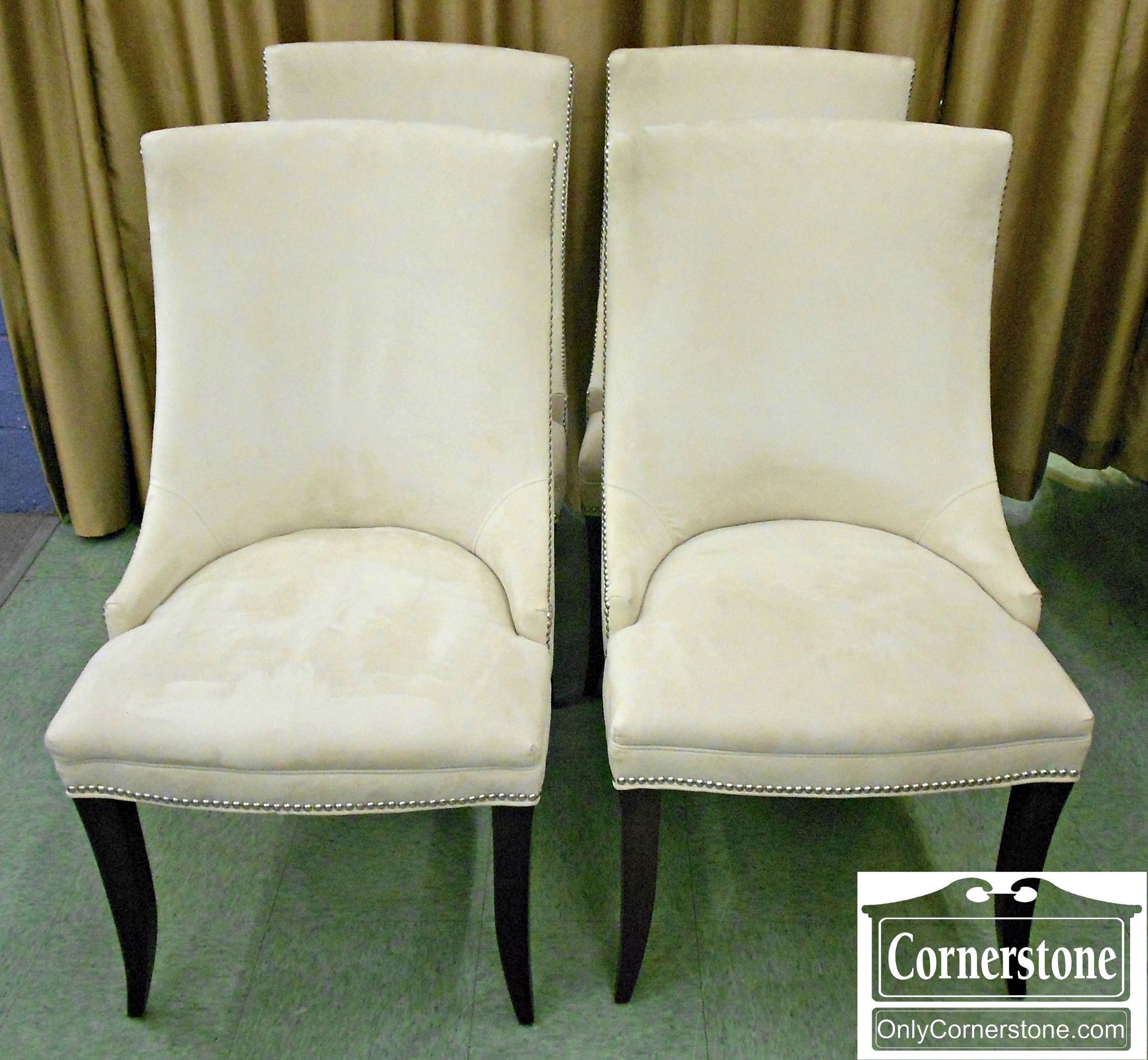 5966-11 Set of 4 Precedent by Sherrill White Suede Chairs