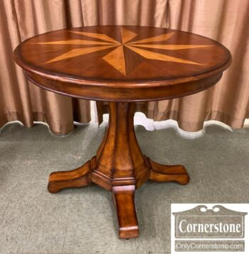 5966-1107 - Mixed Wood Round Occ Tbl Compass Inlay