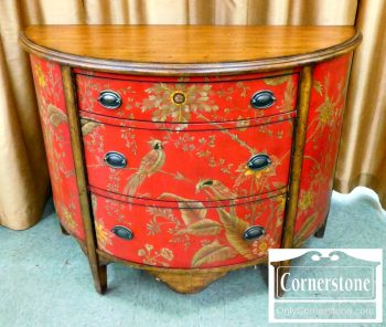 5966-112 Red Painted Demilune Chest