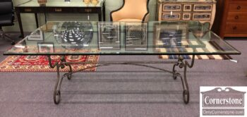 5966-1203 - Pierre Deux Glass Top Table