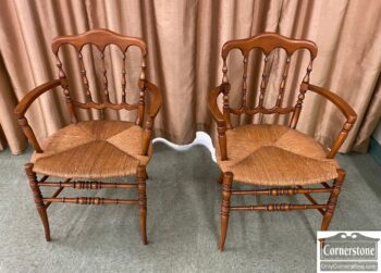 5966-1206 - Pr of French Rush Seat Arm Chairs