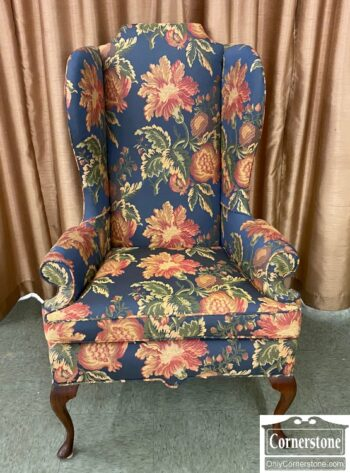 5966-1256 - Blue Floral QA Wing Chair