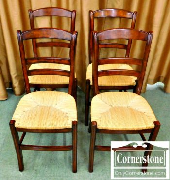 5966-126 Set of 4 Pottery Barn Victorian Style Chairs with Rush Seats