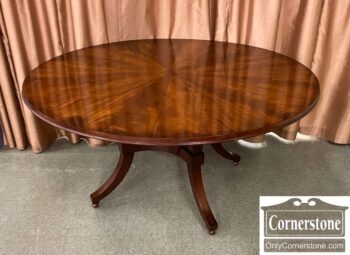 5966-1400 - Henredon Round Pedestal Table w Pad