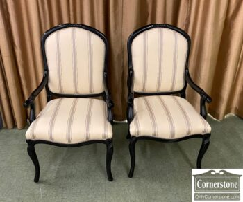 5966-1406 - Pr Asian Sty Arm Chairs Blk Frame