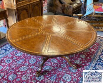 5966-1514-Mah Leather Top Round Table