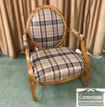 oval back exposed wood arm chair