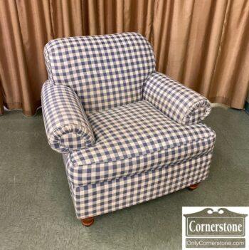 5966-1763-EA Blue Check Club Chair