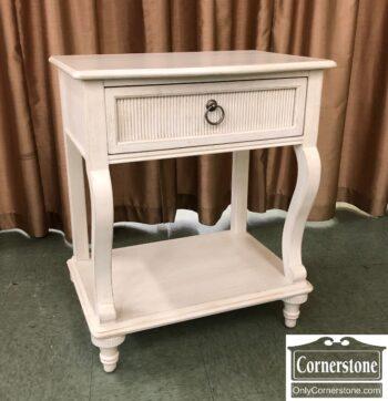 5966-1791-Drexel Heritage White End Table w Shelf