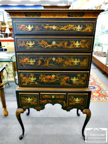5966-224 - Chinoisserie Flat Top Highboy (Repaired Leg - As Is)