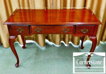5966-226 Cherry Queen Anne Writing Desk with Brass Gallery
