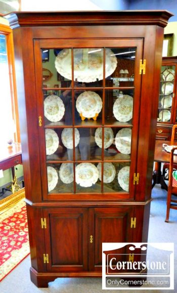 5966-232 Henkel Harris Solid Mahogany 12 Pane Corner Cabinet
