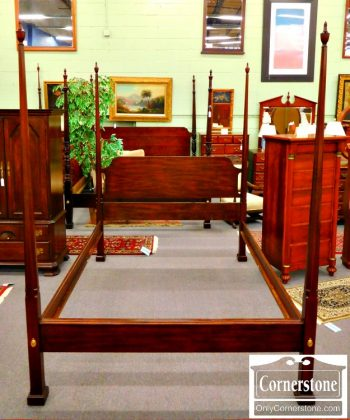 5966-243 Henkel Harris Solid Mahogany Queen Pencil Post Bed with Canopy