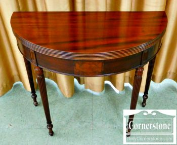 5966-245 Potthast Solid Honduran Mahogany Sheraton Style Demilune Game Table-2
