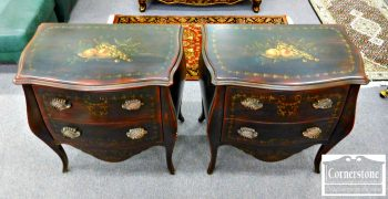 Pair of Pulaski French Style Paint Decorated Chests