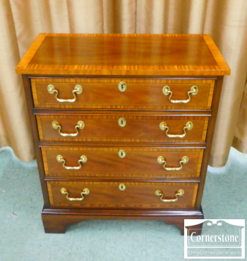 5966-280 - Councill Craftsman Mahogany Chippendale 4-Drawer Inlaid Shallow Chest