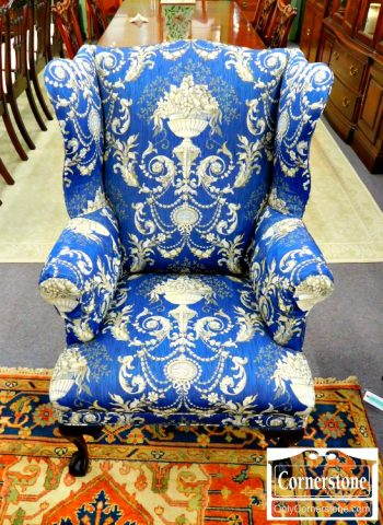 5966-281 - Chippendale Blue Print Wing Chair