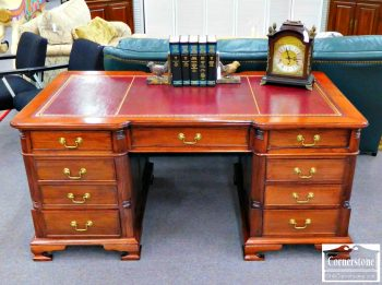 5966-282 - Red Leathertop Mahogany Executive Desk