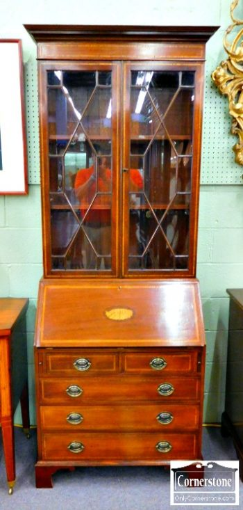 5966-285 - Mahogany Chippendale Inlaid Secretary