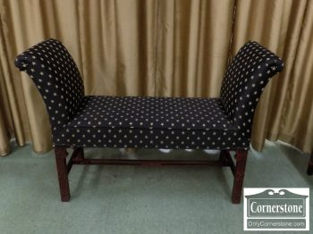 5966-319 - Mahogany Chippendale Bench with Arms - Star Design