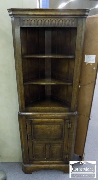 5966-325 - Oak English Small Antique Open Top Corner Cabinet - Oak English Style Small Antique Corner Cabinet With Open Top