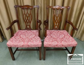 5966-360 - Pair of Chippendale Arm Chairs in Mahogany Finish