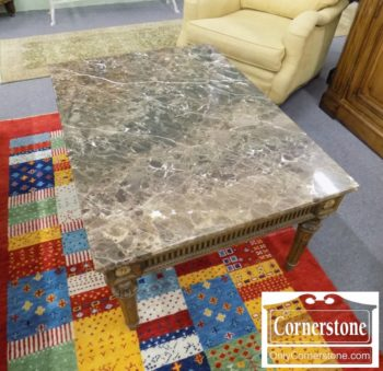 5966-428 - French Style Brown Marbletop Coffee Table